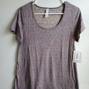 LuLaRoe Classic T Shirt Blue and Peach Floral Sm